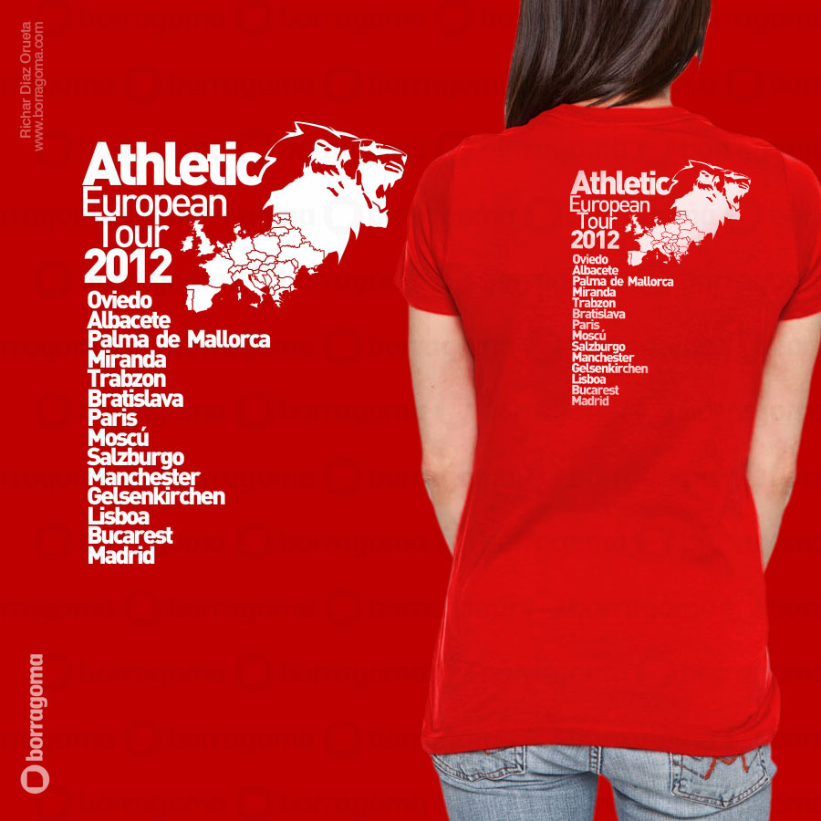 DIS2 Athletic Cami900 TRAS Athletic Tour Europeo 2012 / Camiseta Conmemorativa T Shirts Ilustración en Bilbao Diseño de camisetas Camisetas Athletic de Bilbao