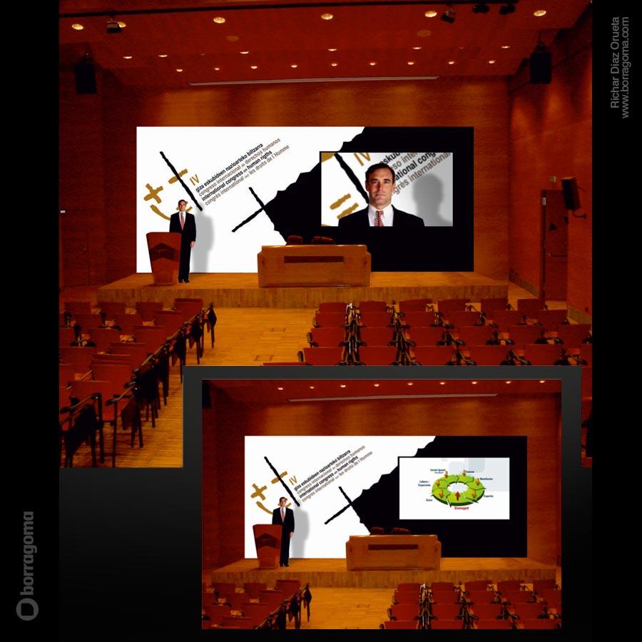 DIS DerechosHumanos Escenario 900pxl IV Congreso Internacional de Derechos Humanos (2010) / Imagen Gráfica del Evento Trabajos Realizados Logotipo Imagen Corporativa Diseño Gráfico concurso